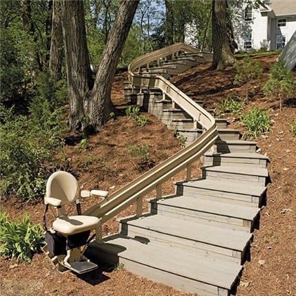 bruno outdoor curved stairlift custom installation